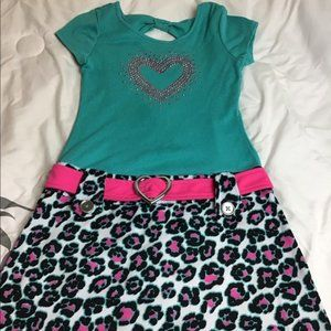 Pinky. Teal and Pink leopard print dress w/ belt
